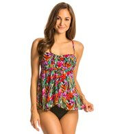 Fit4U Brushstroke Flared Twist Bandeau Tankini Top