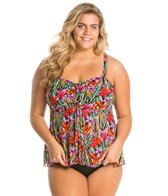 Fit4U Plus Size Brushstroke Flare Twist Bandeau Tankini Top