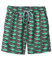 Tom & Teddy Grey & Green Speedboat Swim Trunk