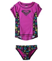 Roxy Girls' Pop Logo S/S Rashguard Set (2yrs-6X)