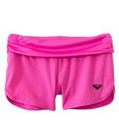 Roxy Girls' Solid Pop Logo Core Foldover Swim Short (2yrs-6X)