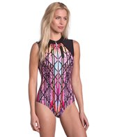 MPG Women's Boss Girl Printed Zip Front One Piece