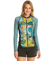 Girls4Sport Zen Garden L/S Full Zip Rashguard with Shelf Bra