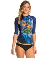 Girls4Sport Women's Pisces Half Sleeve Full Zip Rashguard with Shelf Bra