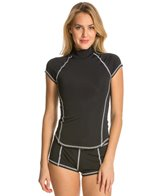 Girls4Sport S/S Rashguard with White Stitching and Shelf Bra