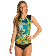 Girls4Sport Women's Zen Garden Sleeveless Rashguard with Shelf Bra