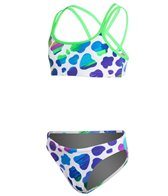 Funkita Blue Moo Girls Criss Cross Sports Two Piece