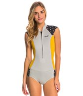 Xcel Women's 2/1MM Hilo Bikini Cut Cap Sleeve Chest Zip Short John Wetsuit