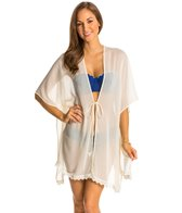 Jessica Simpson Flower Power Crochet Trim Kimono Cover Up