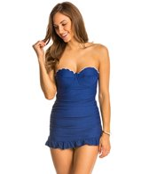 Jessica Simpson Color Pop Scalloped Underwire Swimdress