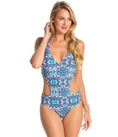 Jessica Simpson Kaleidoscope Cut Maillot One Piece Swimsuit