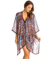 Red Carter Illusion Kimono Cover Up