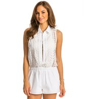 Red Carter Neo Bohemia Eyelet Cover Up Romper