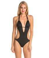 Vitamin A Eco Lux Solid Amber Beaded Cut Out One Piece Swimsuit