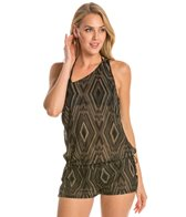 Vitamin A Dusk Diamond Crochet One Shoulder Cover Up Romper