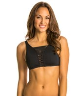 Jag Swimwear Shibori Solids Hi Neck Strappy Bra Bikini Top