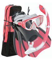 U.S. Divers Diva LX Mask / Island Dry LX Snorkel / Trek Fins / Travel Bag
