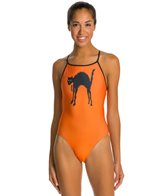 Splish Black Cat Thin Strap One Piece Swimsuit