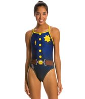 Splish Keystone Cop Thin Strap One Piece Swimsuit