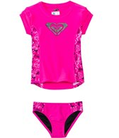 Roxy Girls' Logo Pop S/S Rashguard Set (2T-6X)