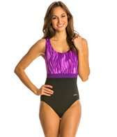 Dolfin Vader Moderate Scoop Back Color Block One Piece Swimsuit