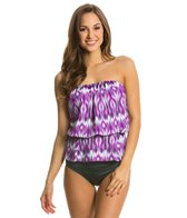 Eco Swim Mist Gathered Bandeau Blouson Top