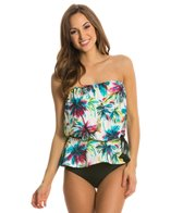 Eco Swim Beach Palm Gathered Bandeau Blouson Top