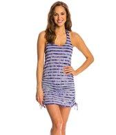Speedo Women's Tie Dye Stripe Shirred Tank Dress