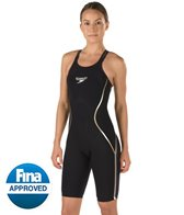 Speedo Limited Edition Women's Black and Gold LZR Racer X Open Back Kneeskin Tech Suit Swimsuit