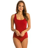 Penbrooke Krinkle Solid Square Neck Underwire One Piece Swimsuit