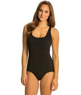 Penbrooke Krinkle Solid Square Neck Chlorine Resistant One Piece Swimsuit