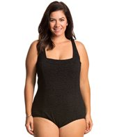 Penbrooke Plus Size Krinkle Solid Square Neck Underwire One Piece Swimsuit
