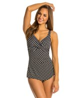 Penbrooke Neautral Spot Cross Over Sarong One Piece Swimsuit