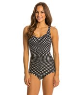 Penbrooke Neautral Spot Shirred Front Girl Leg One Piece Swimsuit