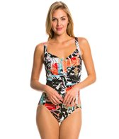 Penbrooke Pattern Sense Shirred Front One Piece Swimsuit