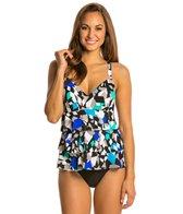 Penbrooke Color Angles Triple Tier Fauxkini One Piece Swimsuit