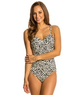 Penbrooke Nouveau Script Surplice One Piece Swimsuit