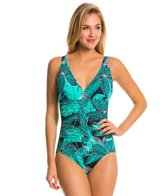 Penbrooke Dot Petals V-Neck Shirred Waist One Piece Swimsuit
