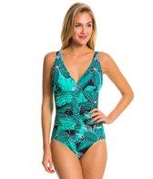 Penbrooke Dot Petals V-Neck Shirred Waist One Piece Swimsuit