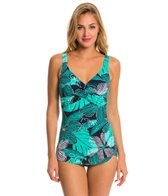 Penbrooke Dot Petals Cross Over Sarong One Piece Swimsuit