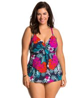 Penbrooke Plus Size Eastern Exotic Twist Front Tankini Top