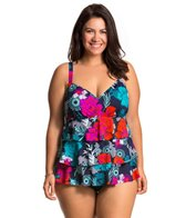 Penbrooke Plus Size Eastern Exotic Triple Tier Fauxkini One Piece Swimsuit
