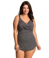 Penbrooke Plus Size Neautral Spot Cross Over Sarong One Piece Swimsuit
