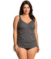 Penbrooke Plus Size Neautral Spot Adjustable Side Fauxkini One Piece Swimsuit