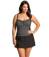 Penbrooke Plus Size Neautral Spot Shirred Skater Swimdress