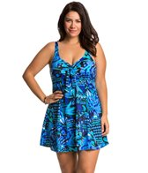 Penbrooke Plus Size Caribbean Play Bow Front Swimdress