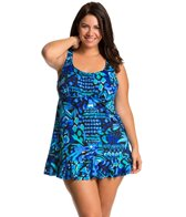 Penbrooke Plus Size Caribbean Play Ruffle Bottom Swimdress Top