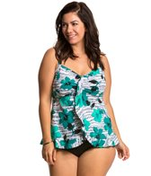 Penbrooke Plus Size Pizzazz Ruffle Bottom Tankini Top