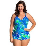 Penbrooke Plus Size Garden of Oz Surplice Tankini Top
