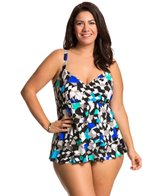 Penbrooke Plus Size Color Angles Triple Tier Fauxkini One Piece Swimsuit